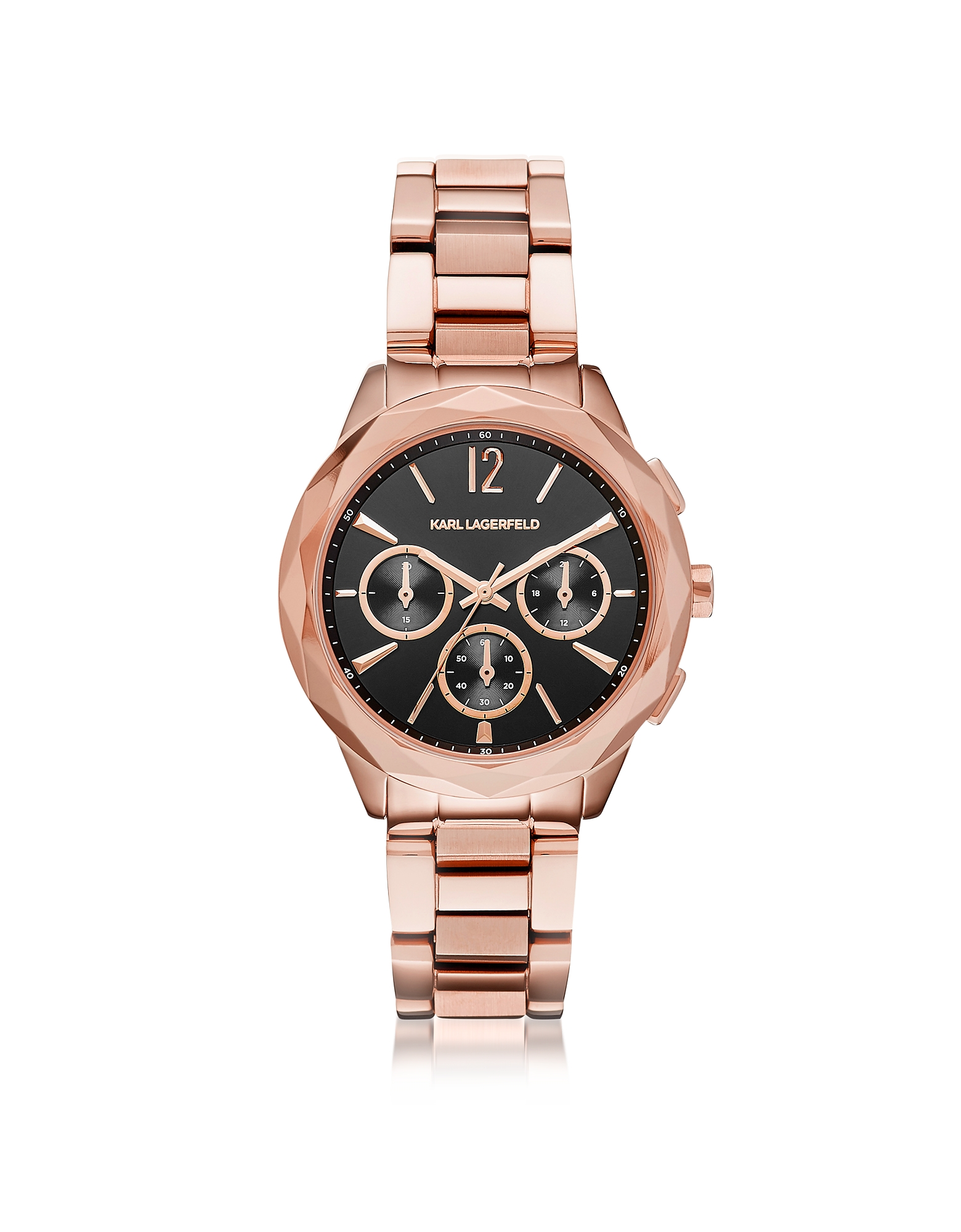 Karl Lagerfeld Women's Watches, Optik Rose Gold PVD Stainless Steel Women's Chronograph Watch