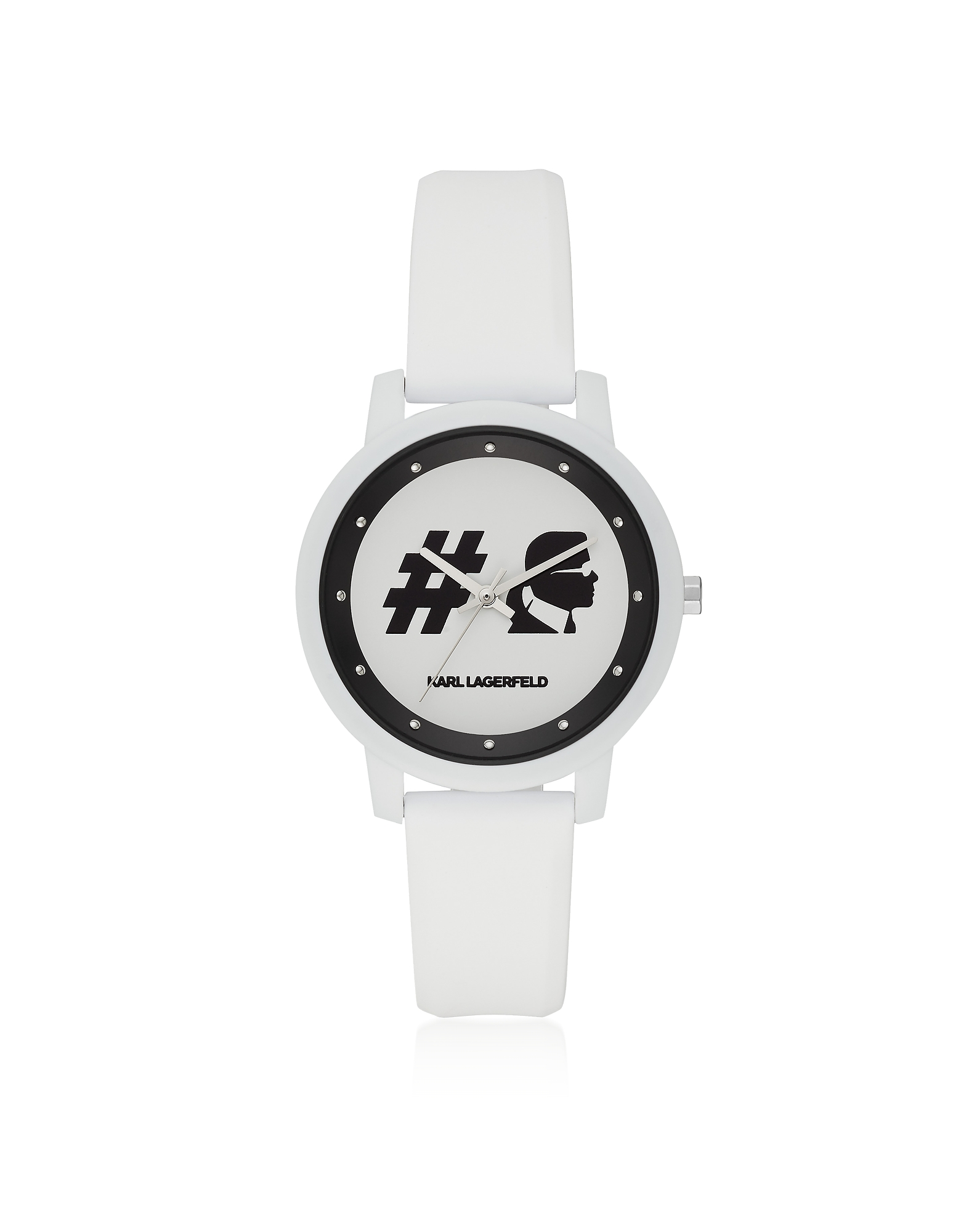 Camille Hashtag and White Silicone Women's Watch