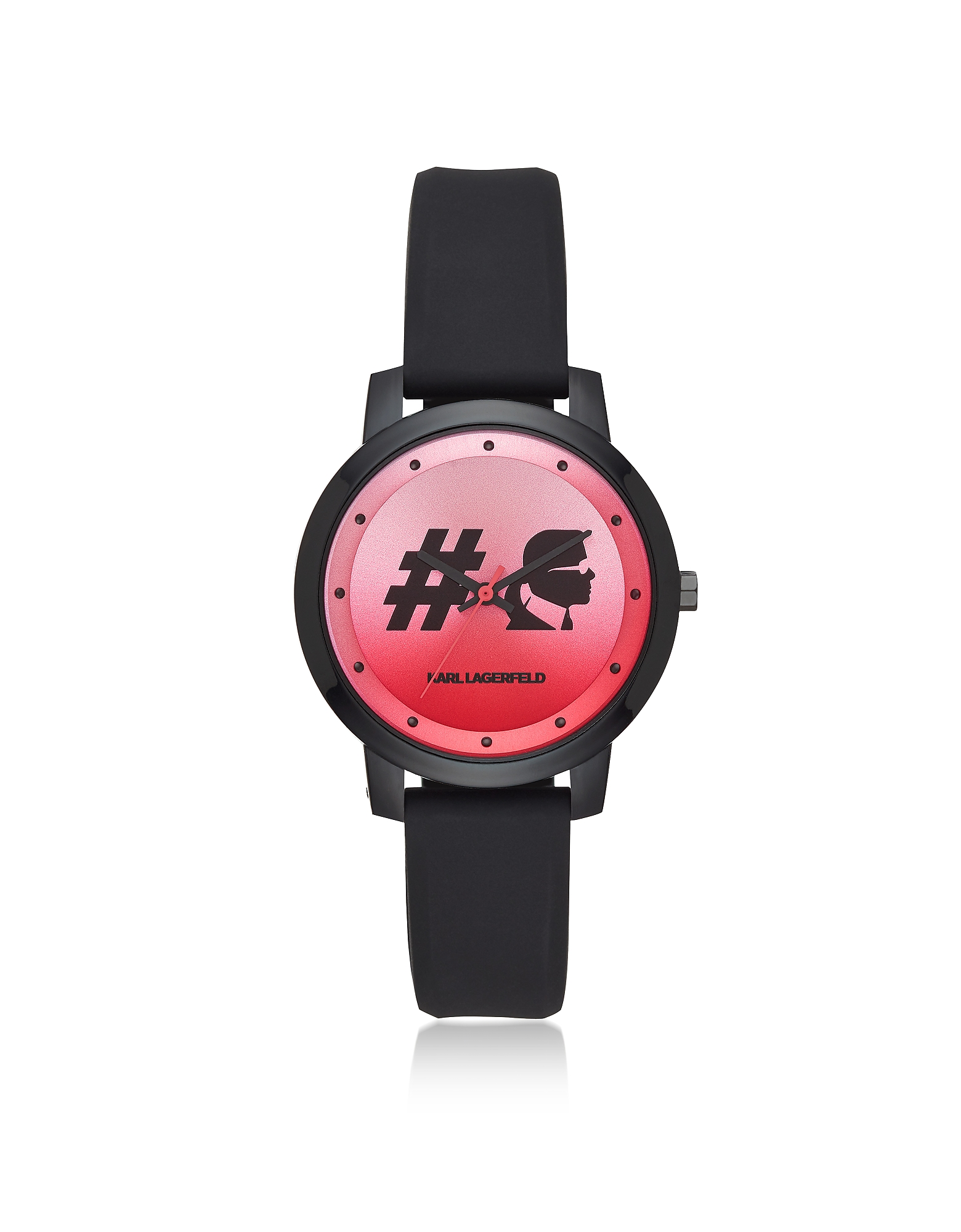 Camille Hashtag and Black Silicone Women's Watch