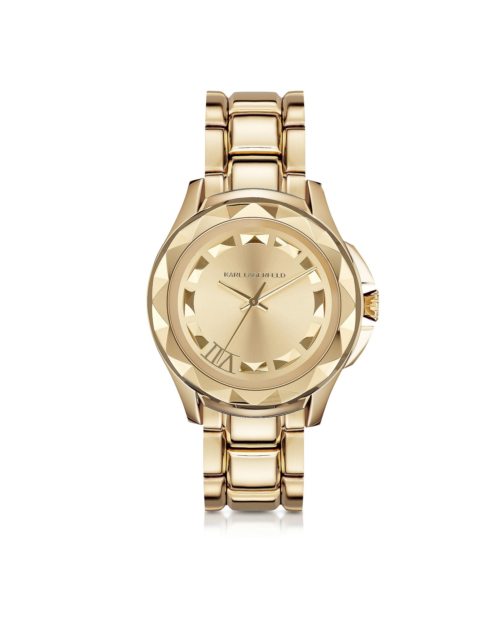 Karl Lagerfeld Women's Watches, Karl 7 43.5mm Gold IP Stainless Steel Unisex Watch