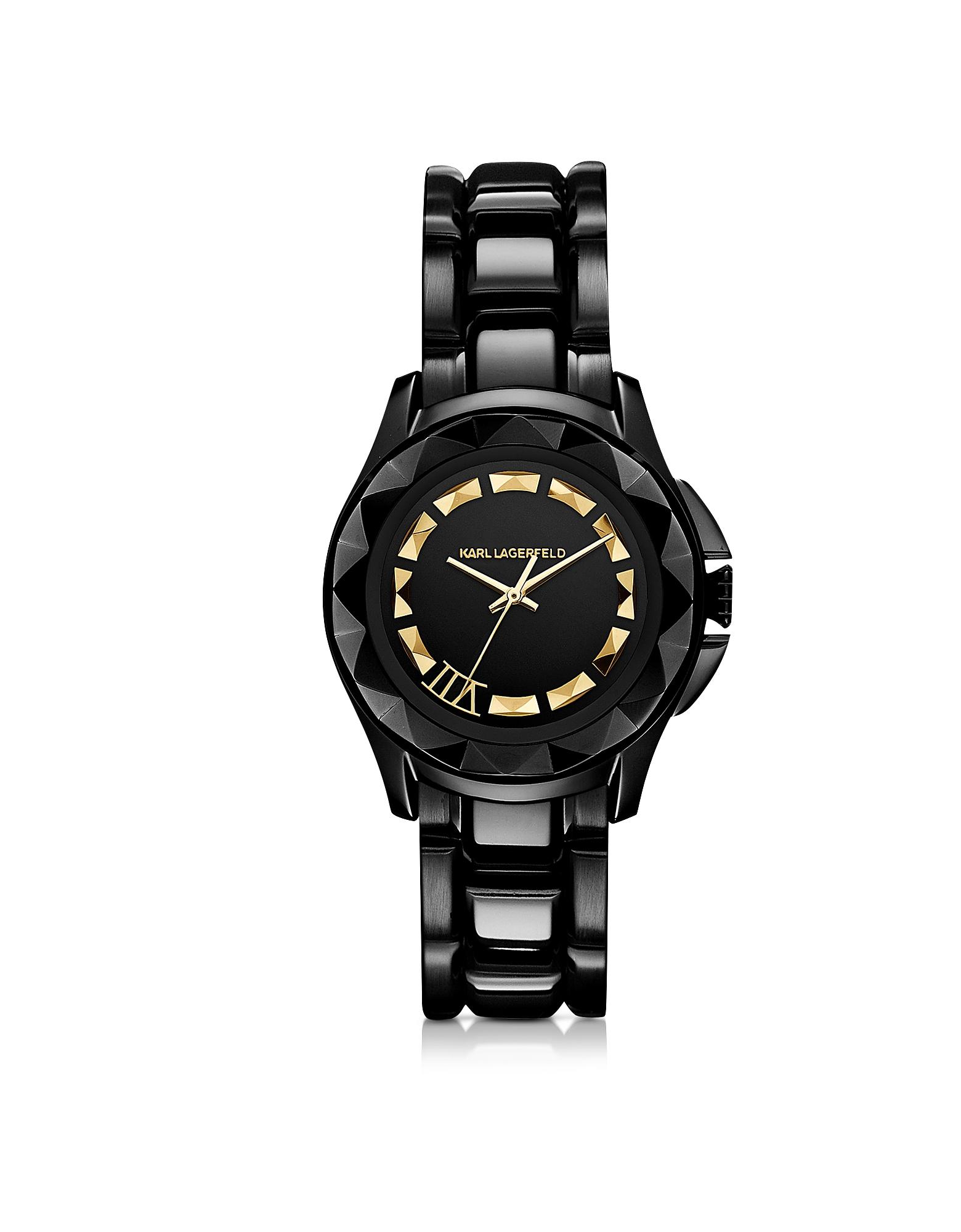 Karl Lagerfeld Karl 7 - 36 мм Черные/Позолоченные Часы Унисекс из Нержавеющей Стали