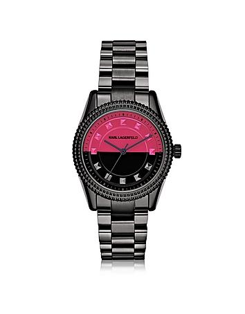 Petite Stud Black Stainless Steel Women's Watch