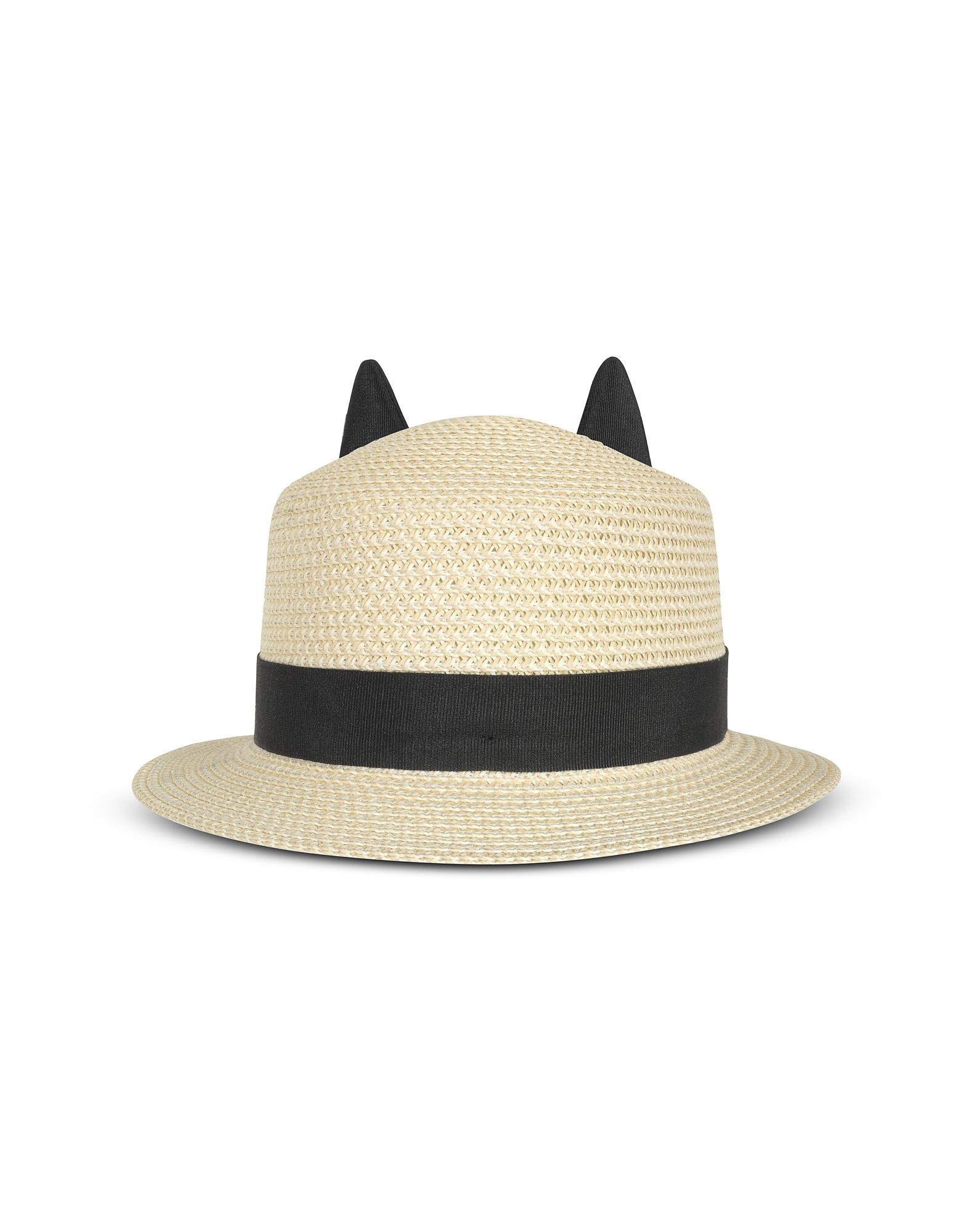 Karl Lagerfeld Шляпа из Натуральной Соломки с Черной Лентой и Ушками