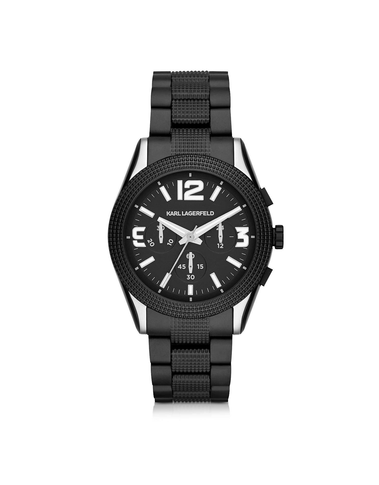 Kurator - 41.5 мм Черные Мужские Часы Хронограф из Нержавеющей Стали