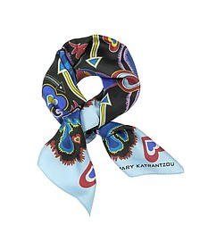 Foulard in Twill di Seta Stampa Heart Flames  - Mary Katrantzou