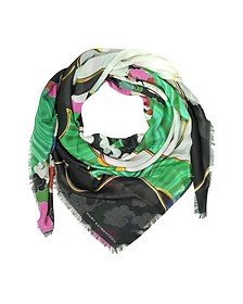 Jewel Cloud Print Modal & Cashmere Wrap w/Fringes - Mary Katrantzou