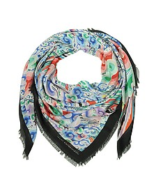 Rainbow Cloud Print Modal & Cashmere Wrap w/Fringes - Mary Katrantzou