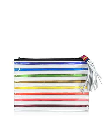 Rainbow White Canvas Pouch