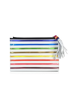 Rainbow White Canvas Pouch - Mary Katrantzou