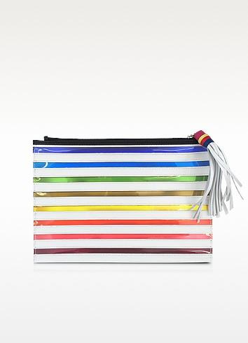 Rainbow White Canvas Pouch - Mary Katrantzou