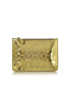 Laminated Gold Leather Pouch w/Stars - Mary Katrantzou