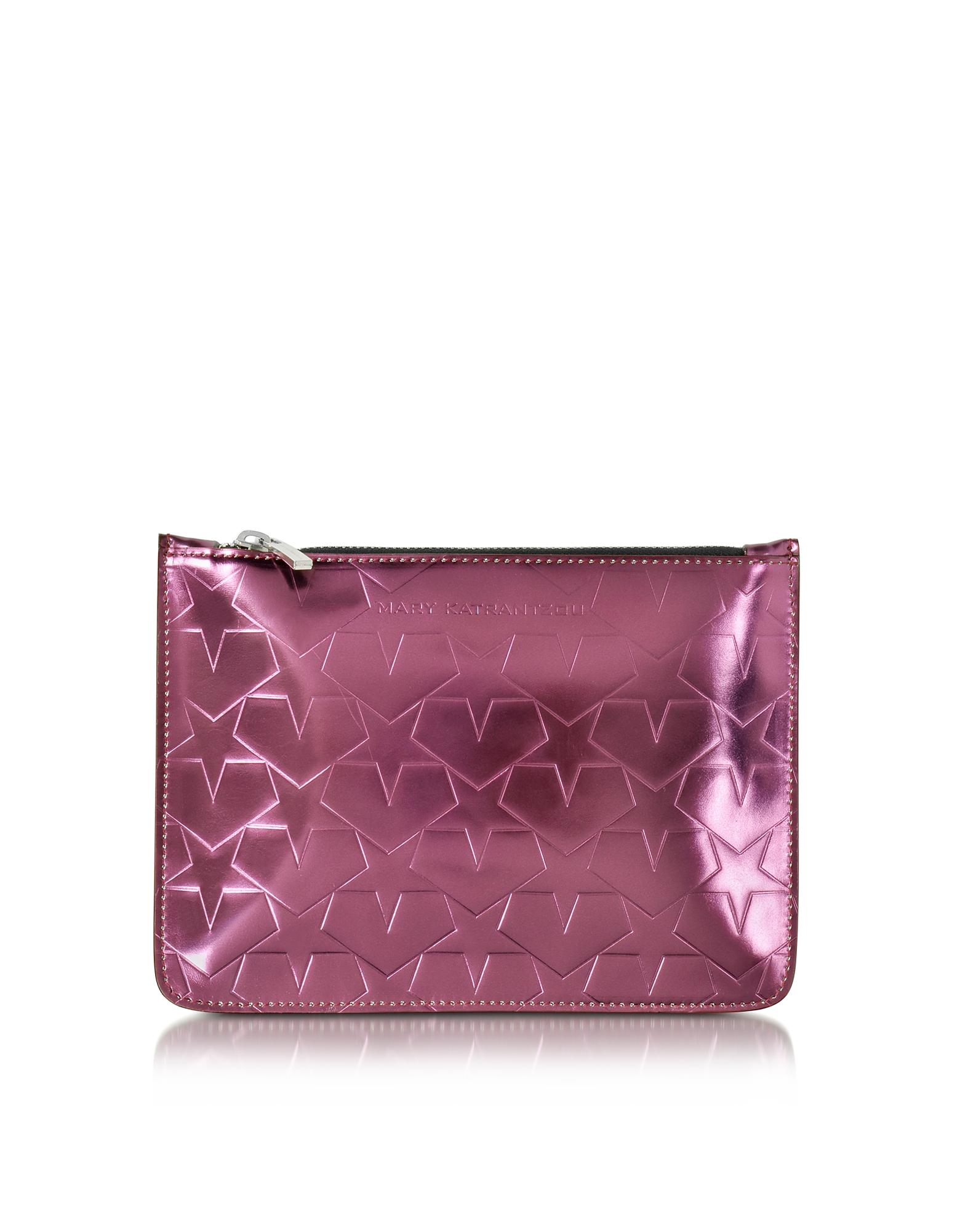 Mary Katrantzou Handbags, Laminated Leather Pouch w/Stars