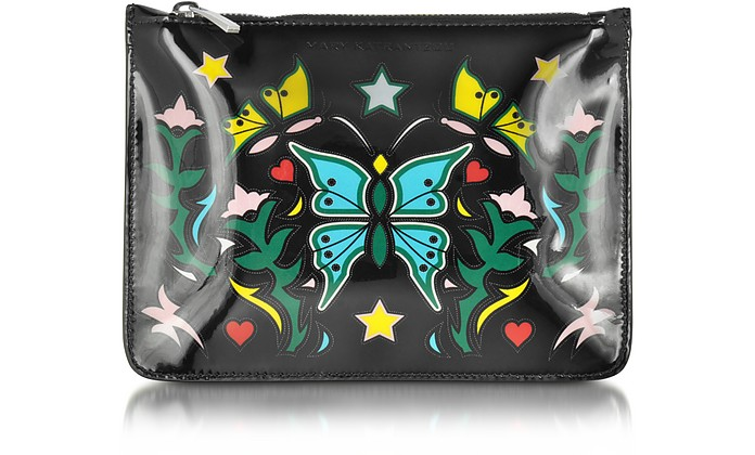 Graphic Butterfly Black Nappa Leather Pouch - Mary Katrantzou
