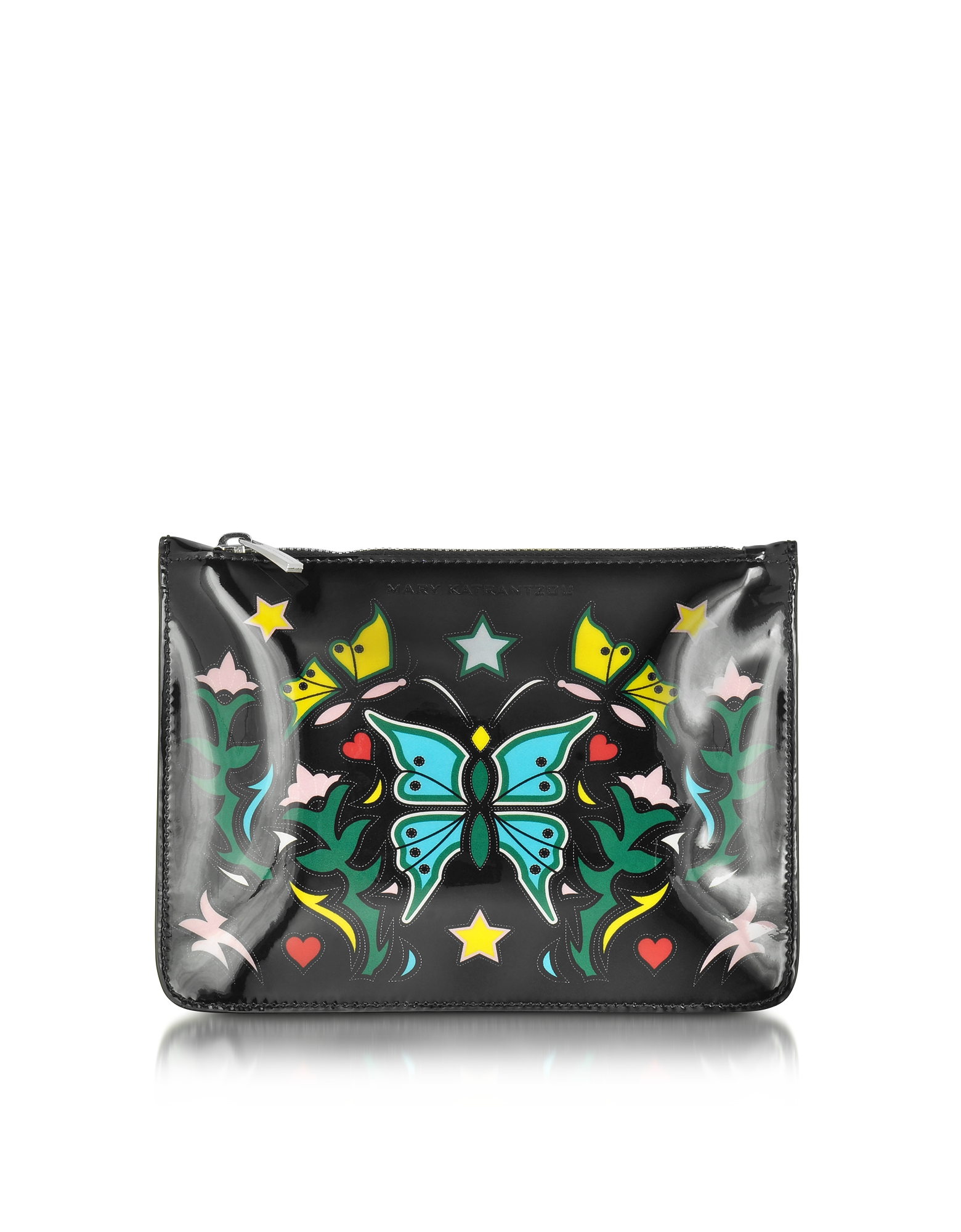 Mary Katrantzou Handbags, Graphic Butterfly Black Nappa Leather Pouch