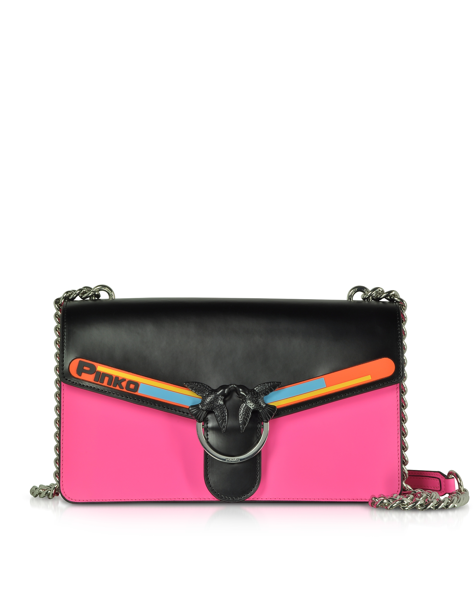 Black and Fuchsia Love Sport Shoulder Bag. Love Bag Sport crafted in two-tone Hi Shine leather with sports-inspired colorful rubber-coated effect band
