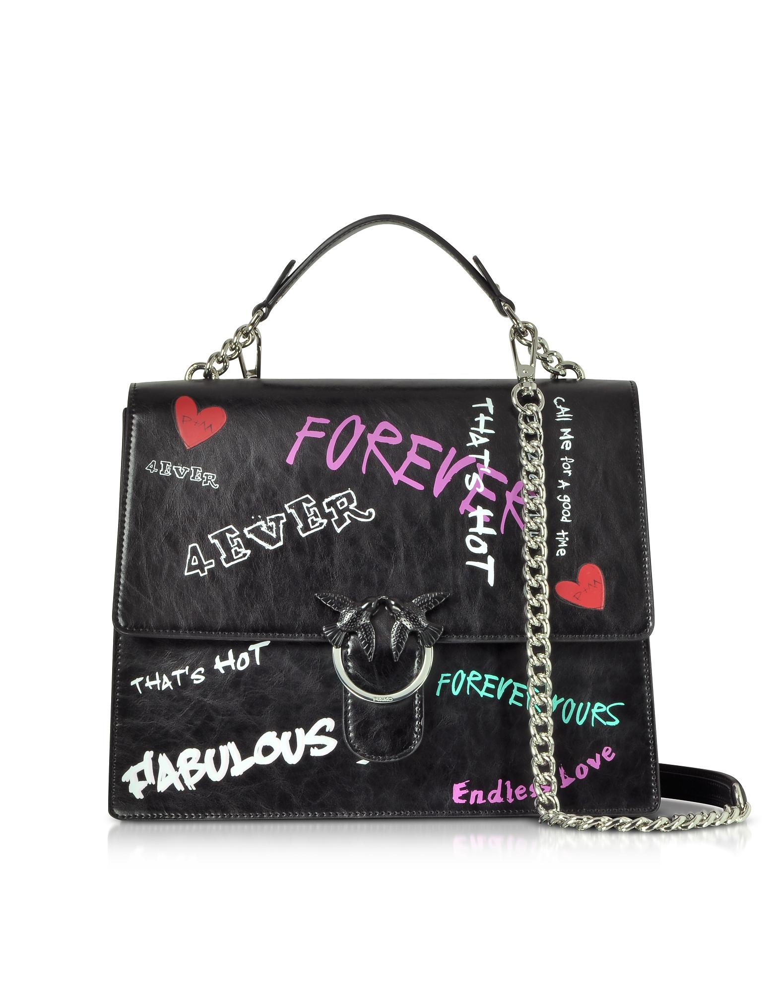Pinko Handbags, Black Faboulus Vintage Leather Satchel Bag