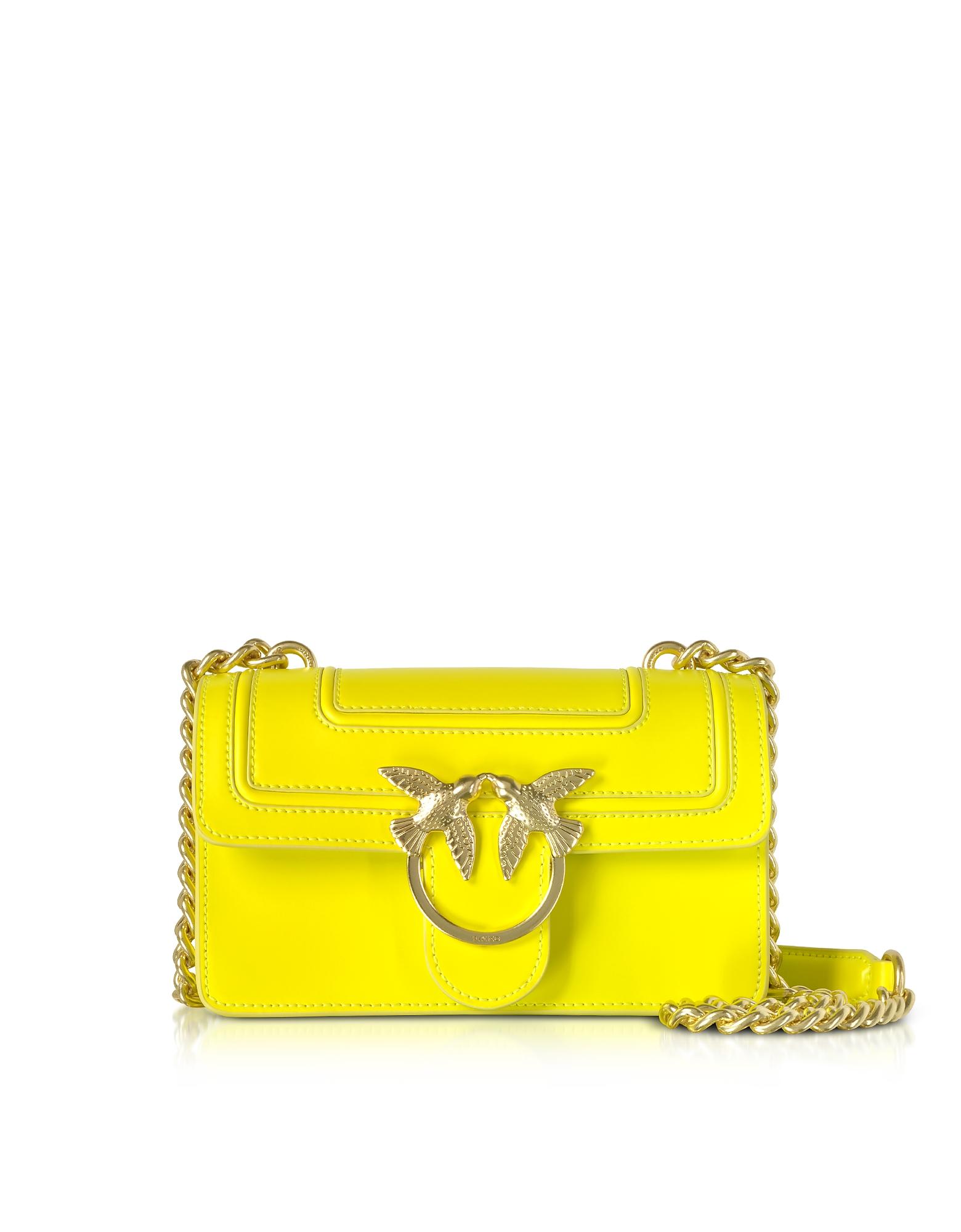 Pinko Handbags, Mini Love Fluo Leather Shoulder Bag