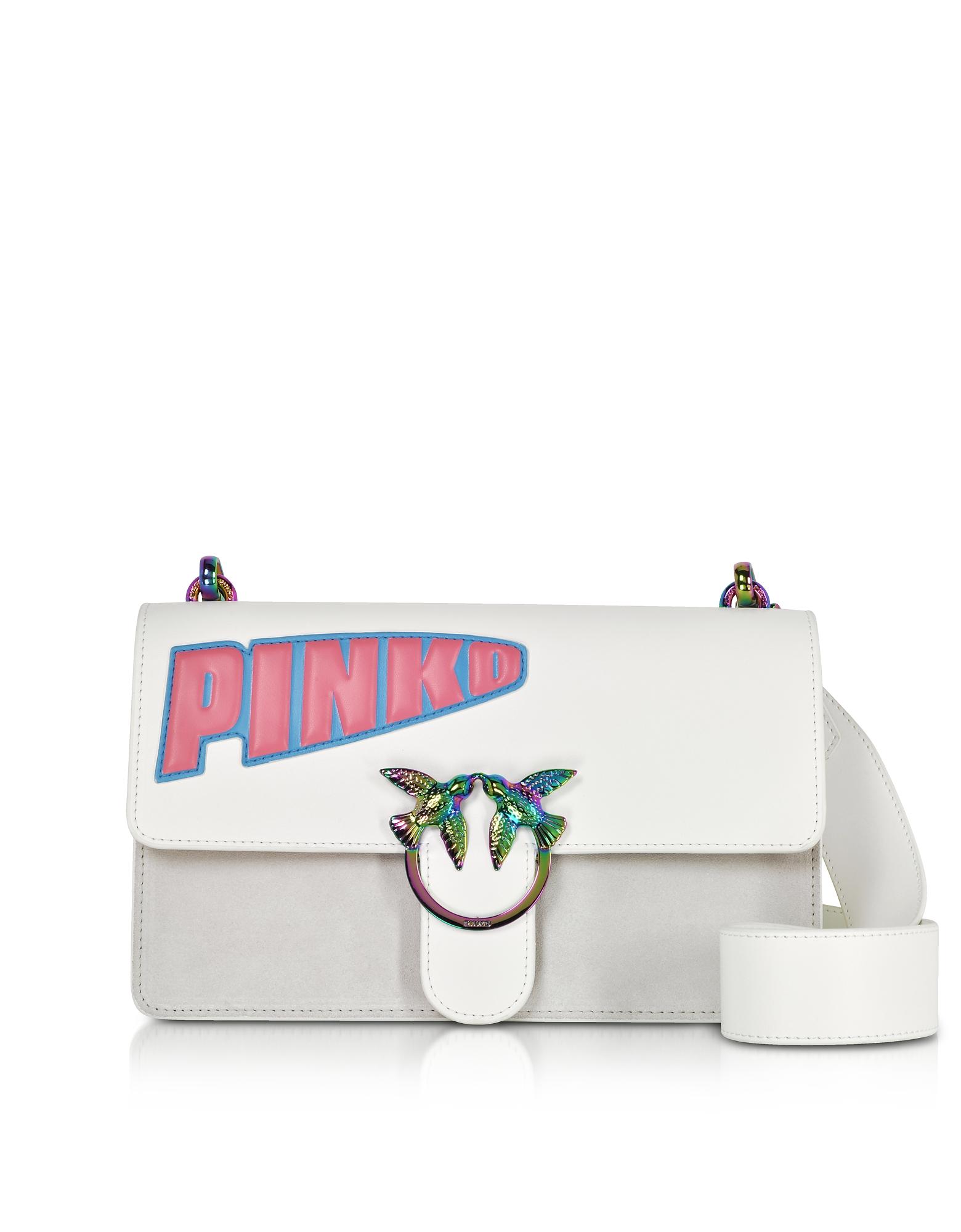 Pinko Handbags, White Leather Love Maxi Logo Shoulder Bag