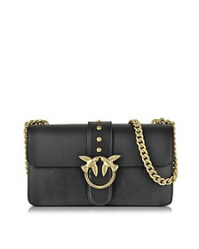 Love Simply Black Leather Shoulder Bag w/Golden Chain - Pinko