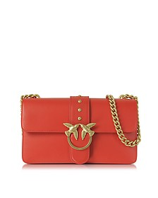 Love Simply Red Leather Shoulder Bag w/Golden Chain - Pinko
