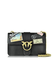 Love Souvenir Black Leather Shoulder Bag w/Golden Chain - Pinko