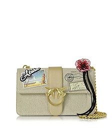 Love Souvenir Beige Canvas Shoulder Bag w/Golden Chain - Pinko