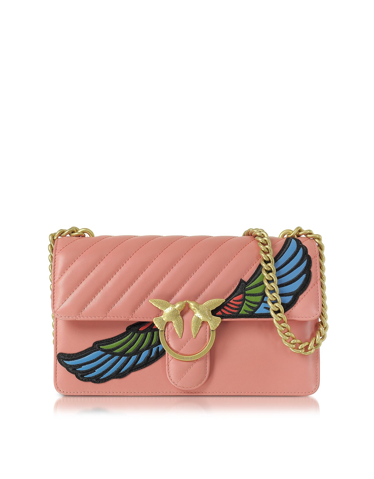 Pinko Love Wings - Розовая Стеганая Сумка на Плечо из Кожи Наппа с Золотистой Цепочкой