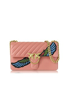 Love Wings Pink Quilted Nappa Leather Shoulder Bag w/Golden Chain - Pinko