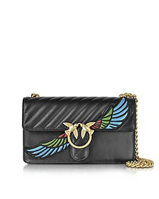 Love Wings Black Quilted Nappa Leather Shoulder Bag w/Golden Chain - Pinko