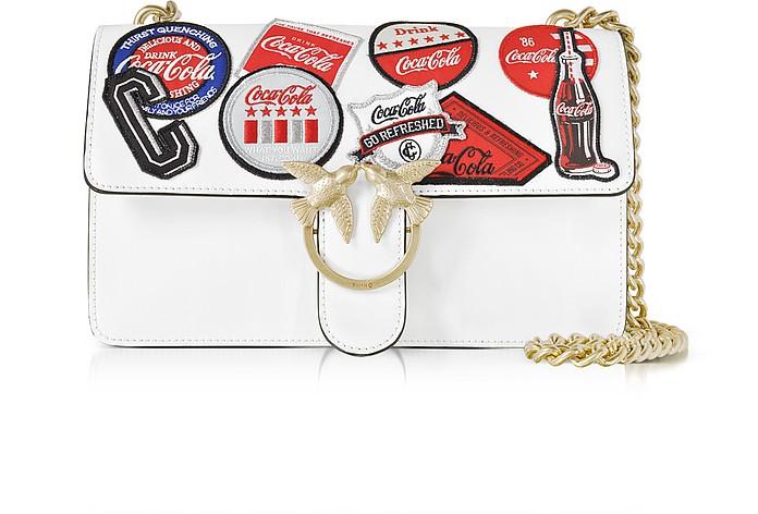 Love Caramella White Leather Shoulder Bag w/Golden Chain - Pinko