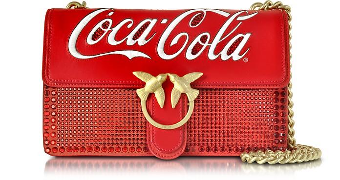 Love Cioccolato Red Leather Shoulder Bag w/Golden Chain - Pinko