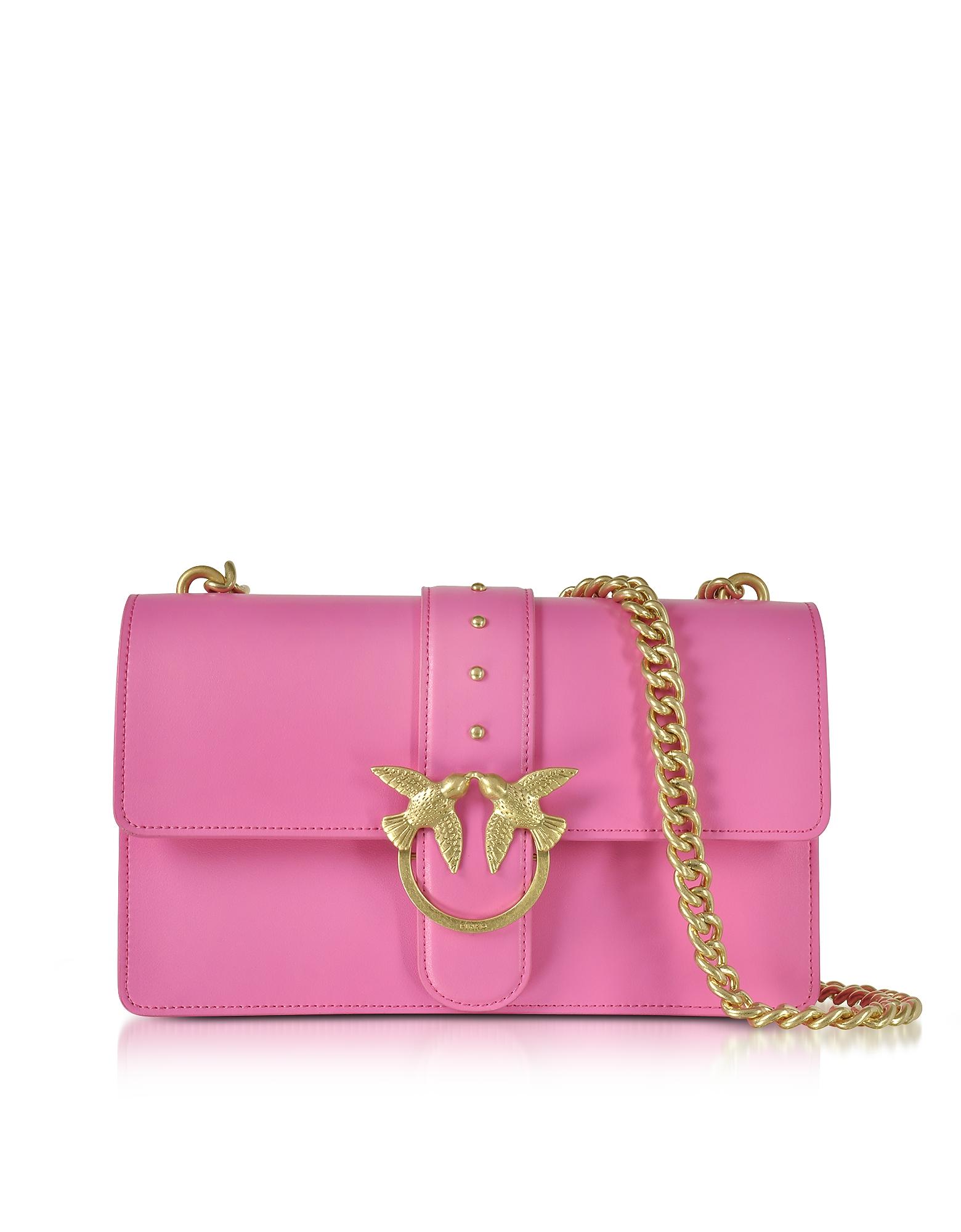 Pinko Handbags, Love Simply 2 Fuchsia Eco Leather Shoulder Bag