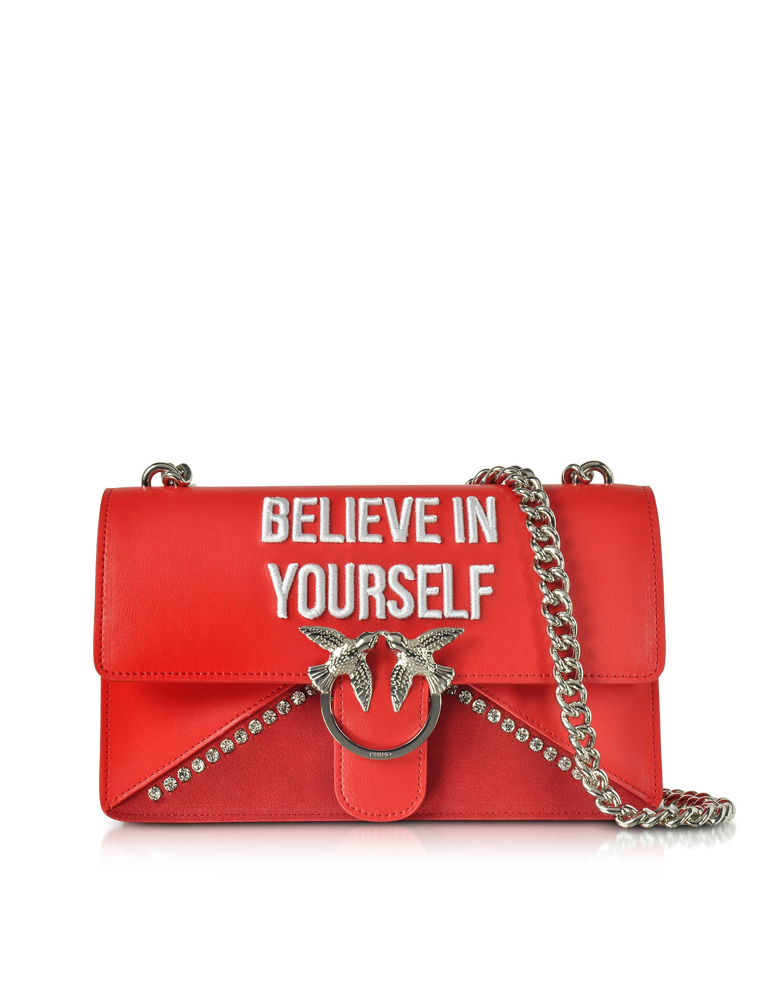 Pinko Handbags, Love Believe In Yourself Red Eco Leather Shoulder Bag