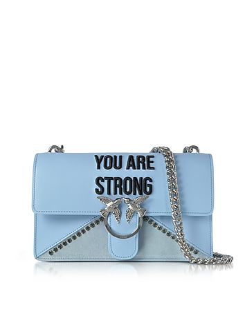 Love Strong Light Blue Eco Leather Shoulder Bag