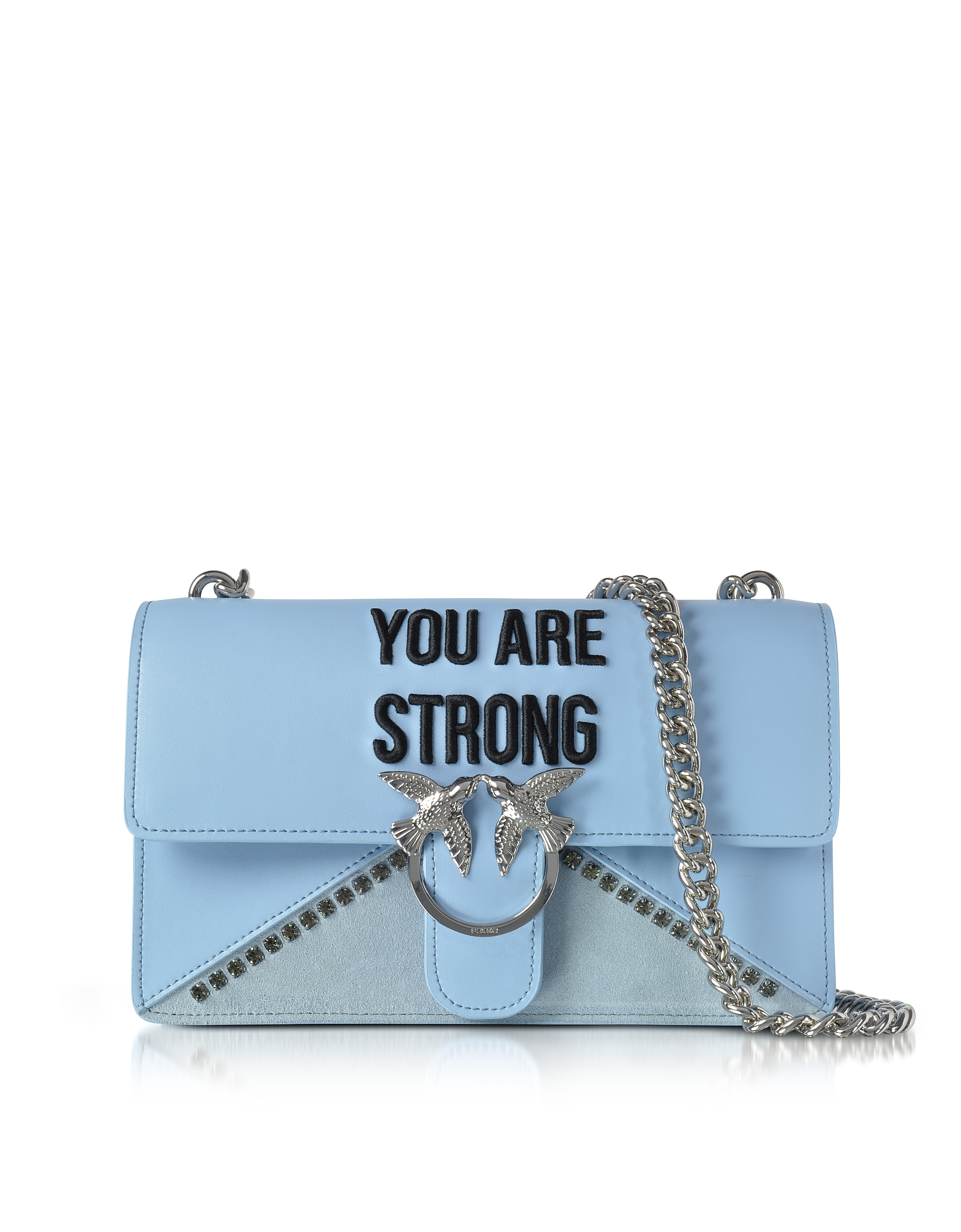 Pinko Handbags, Love Strong Light Blue Eco Leather Shoulder Bag