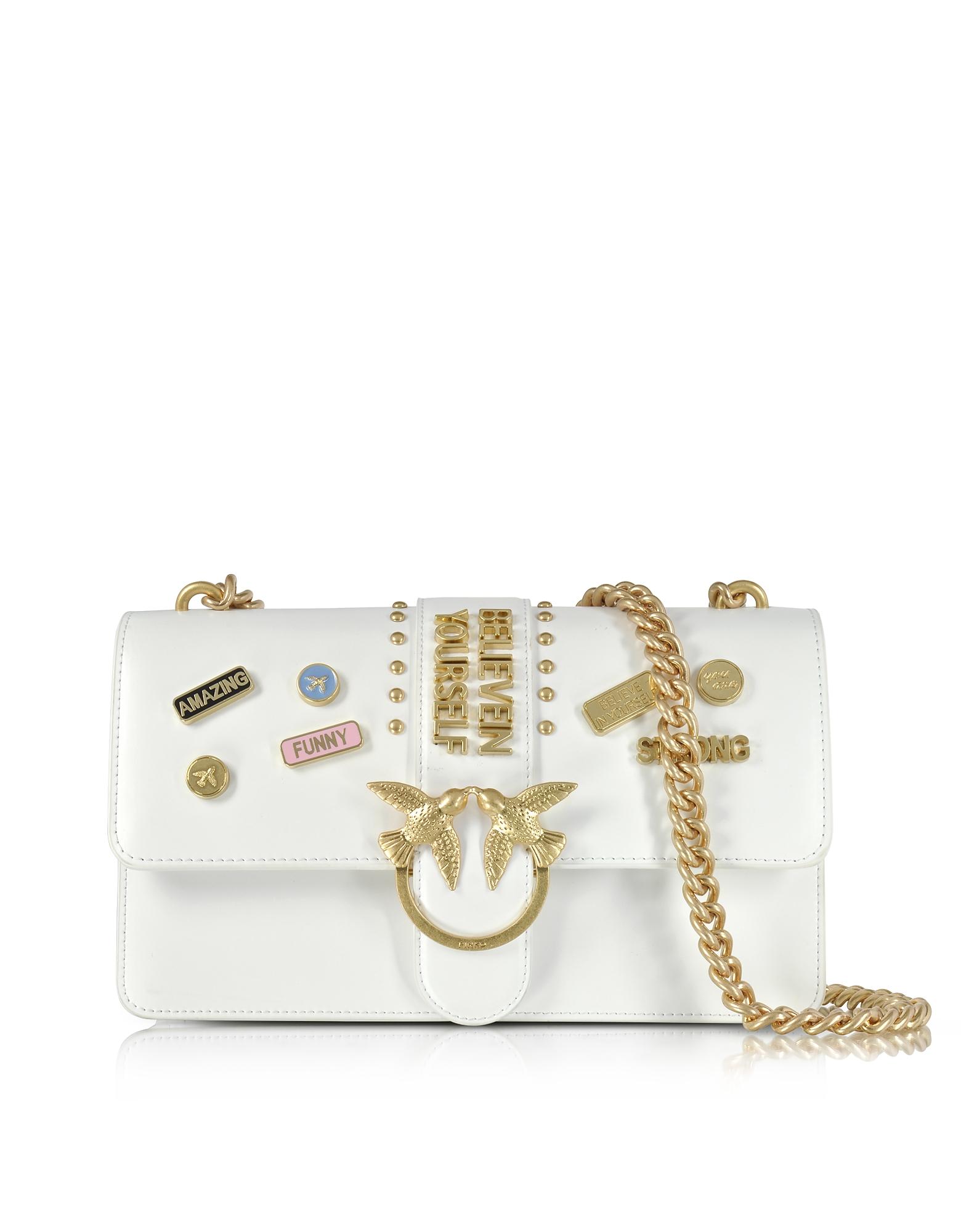 Pinko Handbags, Love Pins White Eco Leather Shoulder Bag