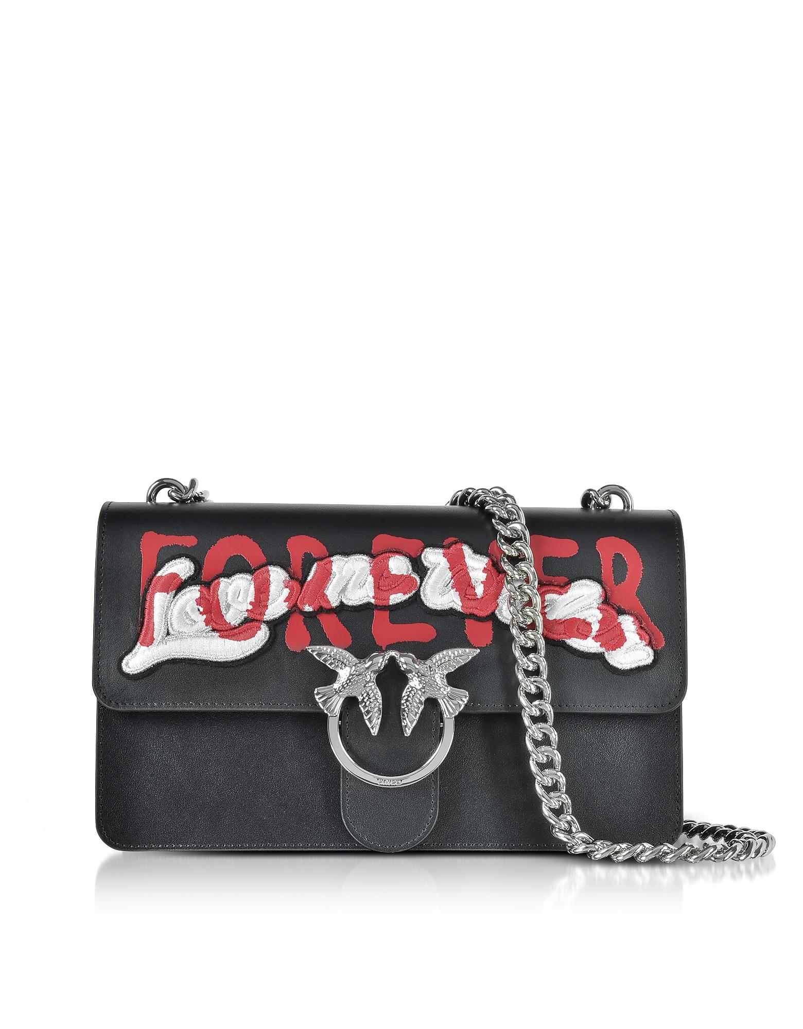 Pinko Handbags, Love Me Tender Forever Black Eco Leather Shoulder Bag