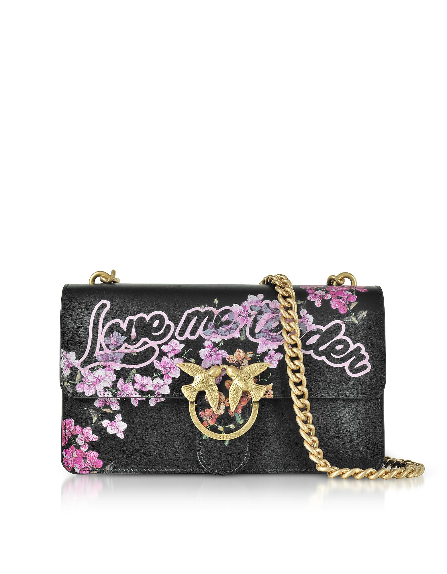 Pinko Handbags, Love Me Tender Flowers Black Eco Leather Shoulder Bag