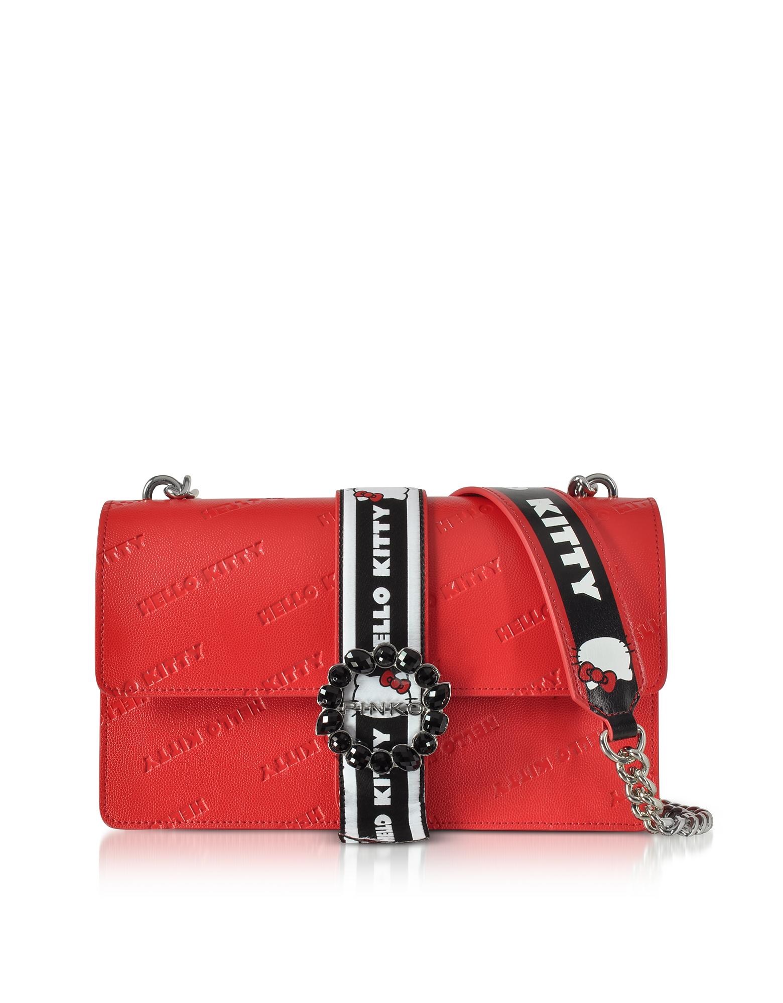 Pinko Handbags, Love Hello Kitty Red Printed Eco Leather Shoulder Bag