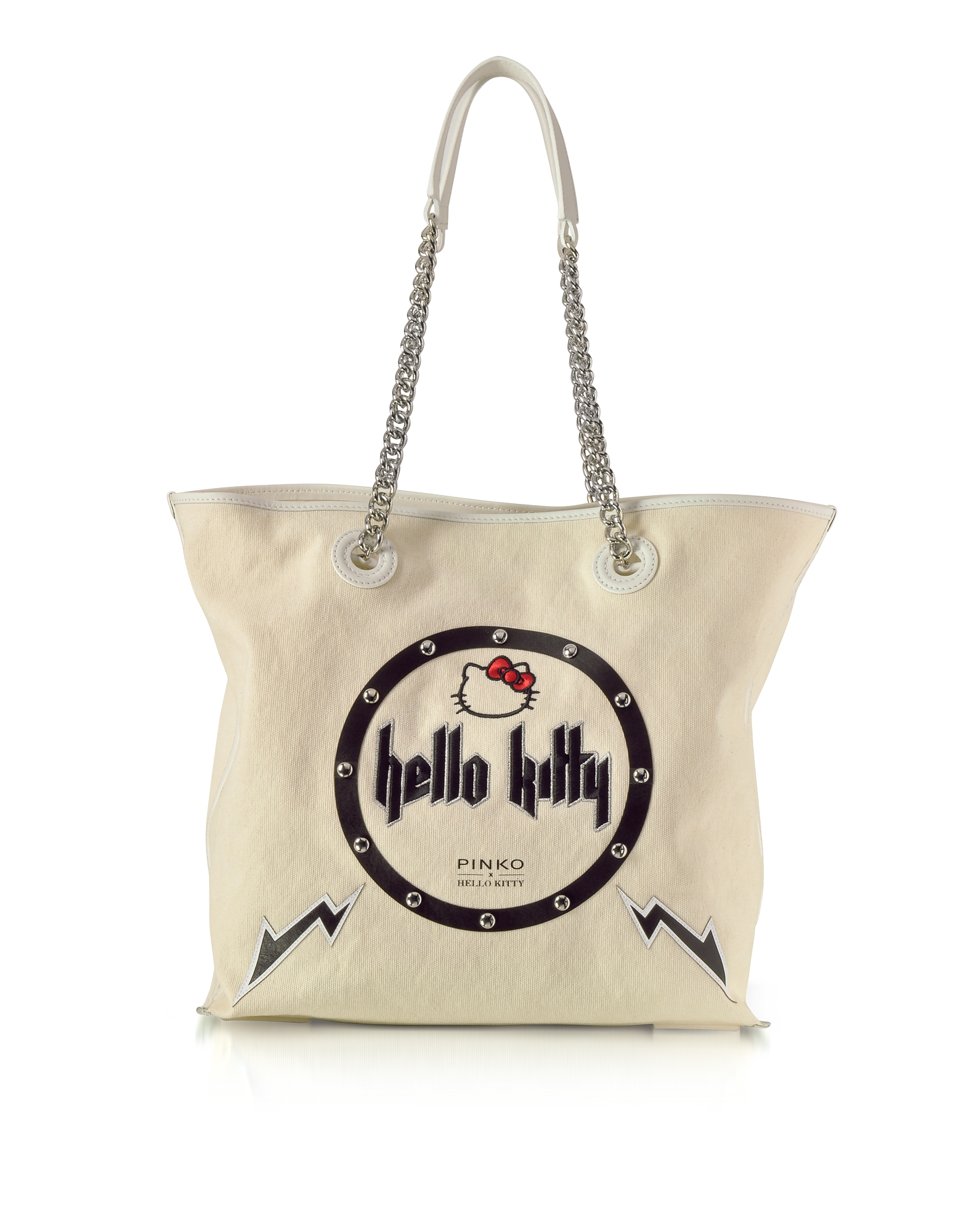 Pinko Handbags, Hello Kitty Rock White Canvas Shopping Bag