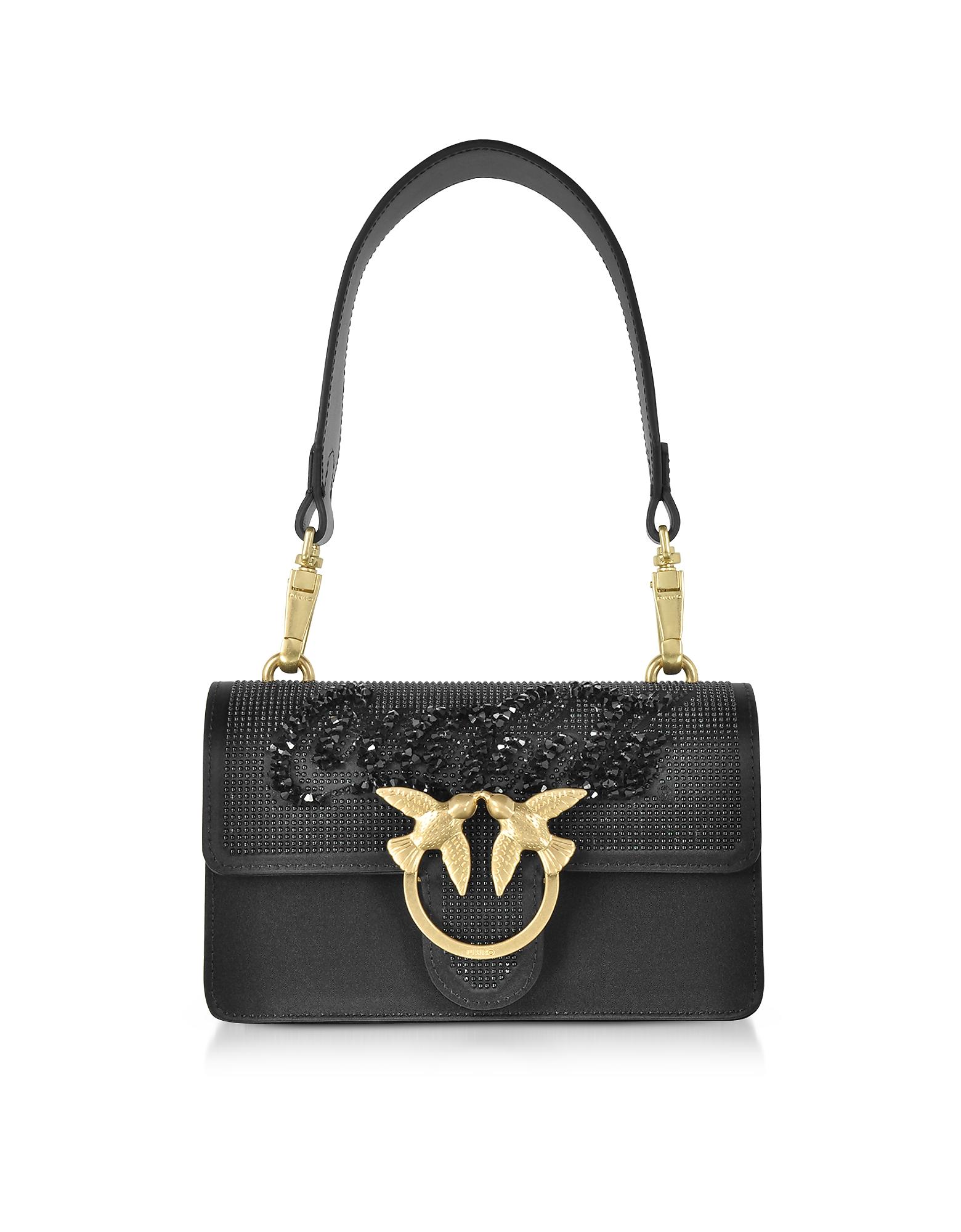 Pinko Handbags, Black Mini Love Paprika Shoulder Bag
