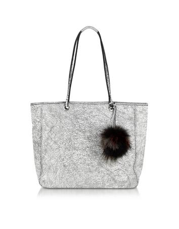 Multiplo White and Black Cracked Leather Tote