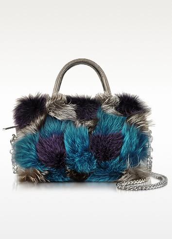 Attivita Genuine Fox Fur and Grey Leather Satchel - Pinko