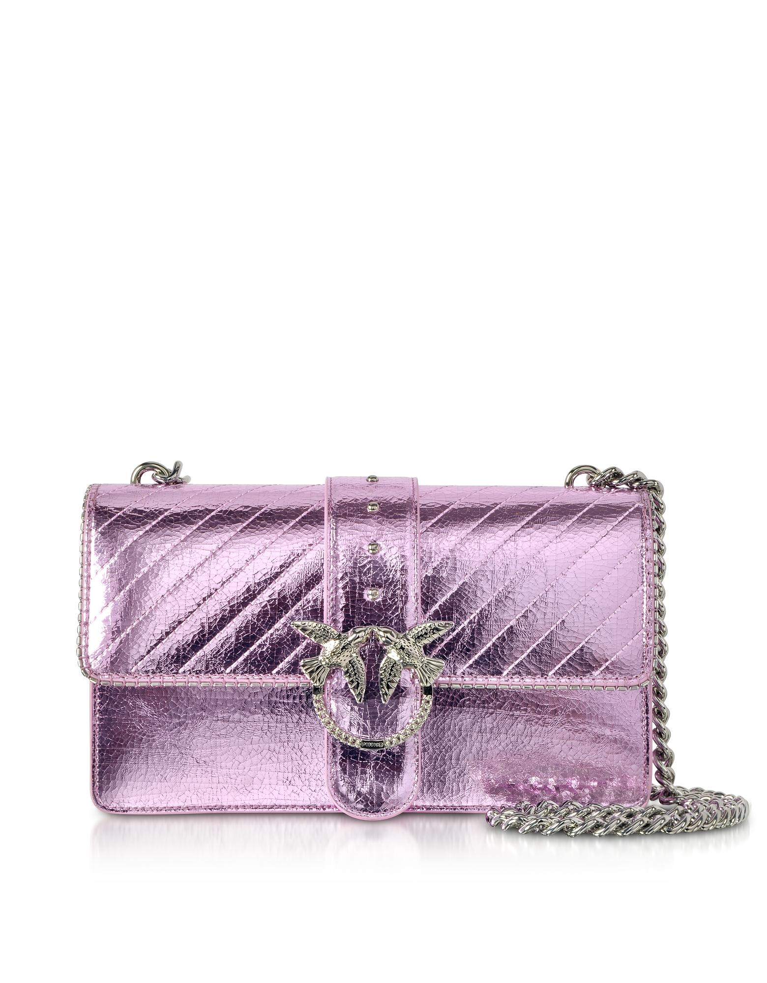 Light Pink Love Metallic Quilted Shoulder Bag