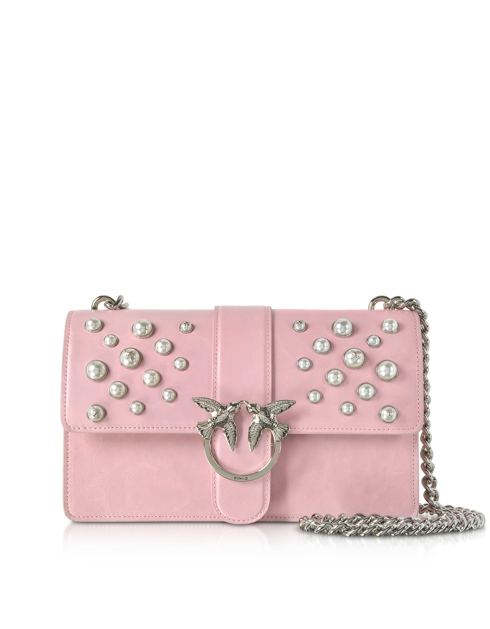 Pinko Handbags, Love Leather Pearls Shoulder Bag