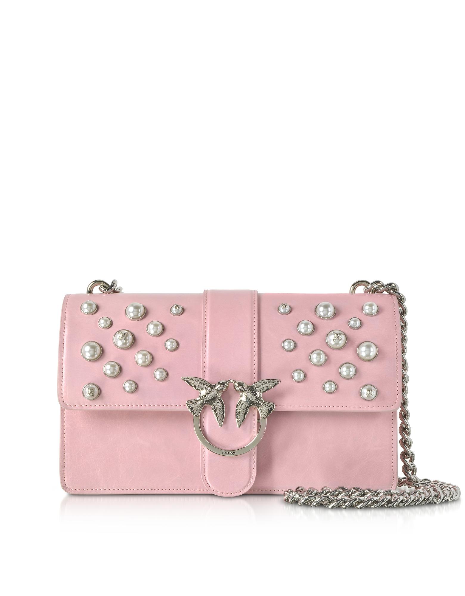Love Leather Pearls Shoulder Bag