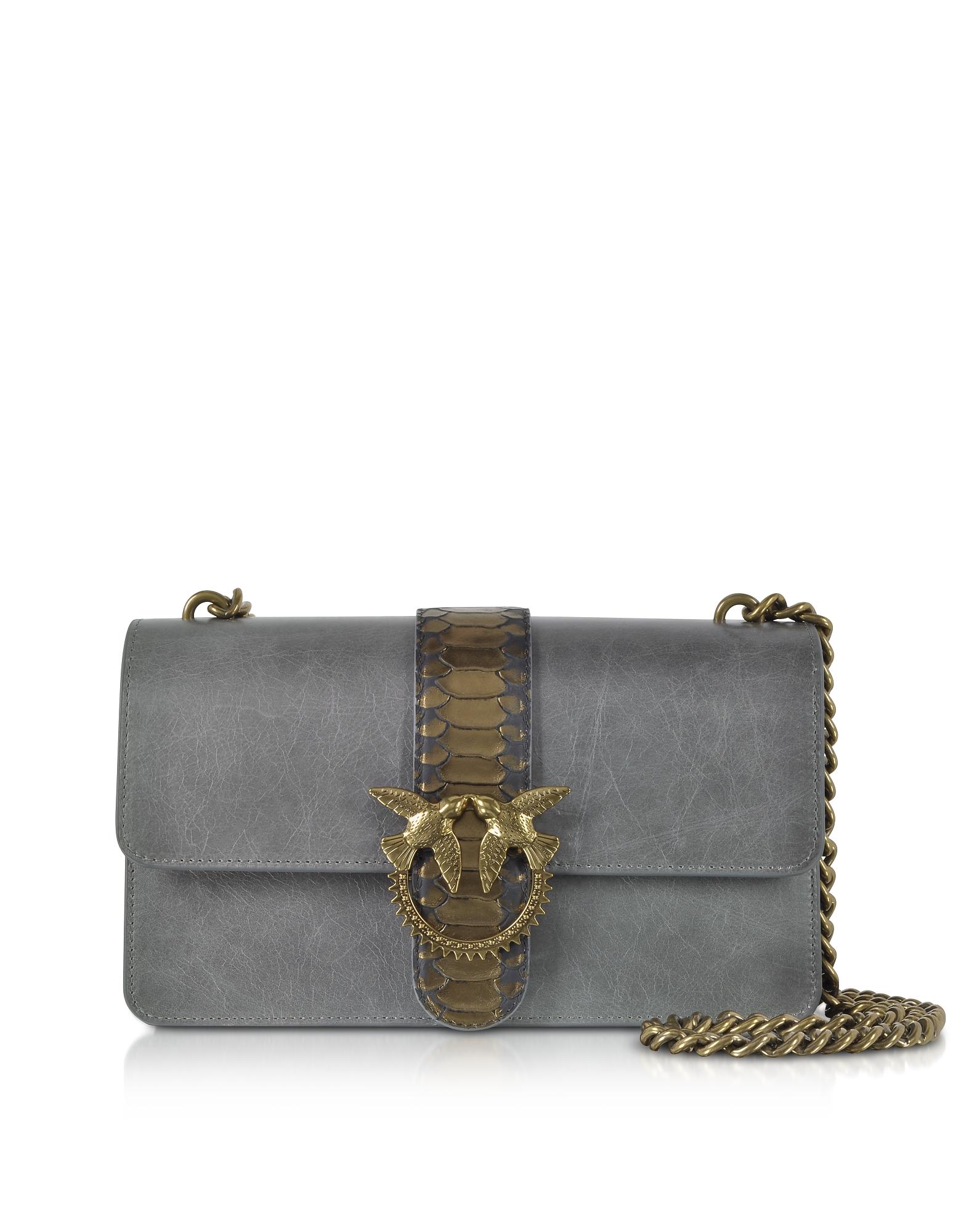 Dark Grey Love Python Western Shoulder Bag