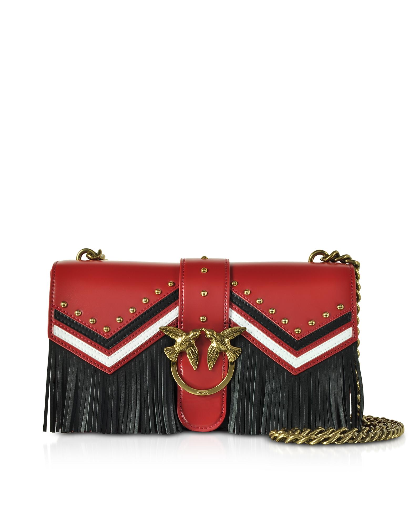 Love Tricolor Leather Fringed Shoulder Bag