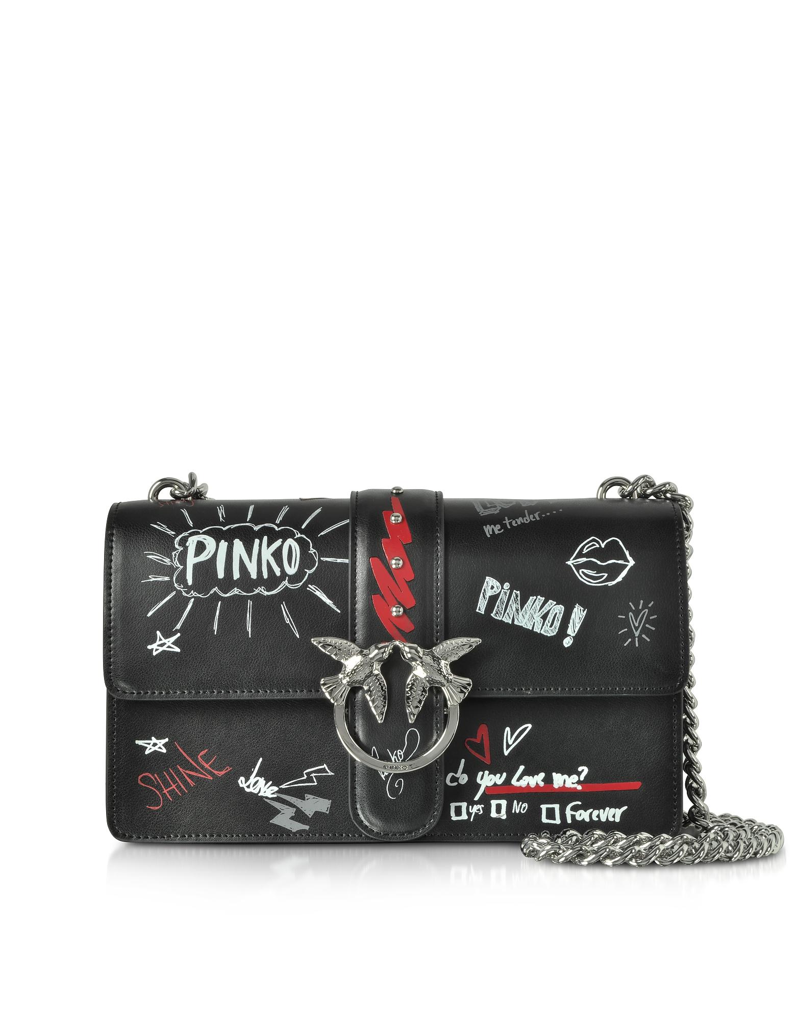 Love Graffiti Leather Shoulder Bag