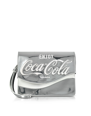Pinko - Solitario Silver Laminated Eco Leather Clutch